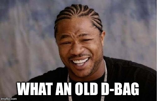 Yo Dawg Heard You Meme | WHAT AN OLD D-BAG | image tagged in memes,yo dawg heard you | made w/ Imgflip meme maker
