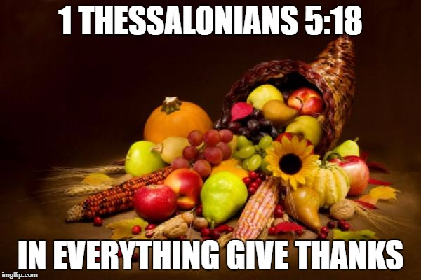 Thanksgiving | 1 THESSALONIANS 5:18 IN EVERYTHING GIVE THANKS | image tagged in thanksgiving | made w/ Imgflip meme maker