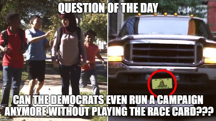 QUESTION OF THE DAY CAN THE DEMOCRATS EVEN RUN A CAMPAIGN ANYMORE WITHOUT PLAYING THE RACE CARD??? | image tagged in democrats,democratic party,campaign,race card | made w/ Imgflip meme maker