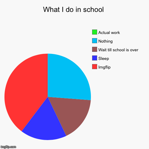 Totally doing work... yep | What I do in school | Imgflip, Sleep, Wait till school is over, Nothing, Actual work | image tagged in funny,pie charts | made w/ Imgflip pie chart maker