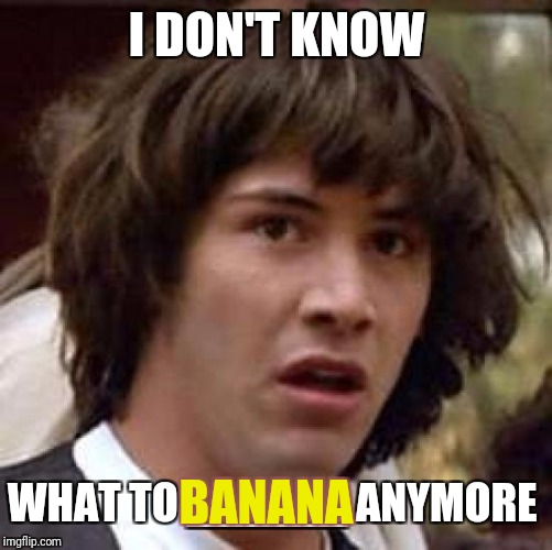 Conspiracy Keanu Meme | I DON'T KNOW WHAT TO ______ ANYMORE BANANA | image tagged in memes,conspiracy keanu | made w/ Imgflip meme maker