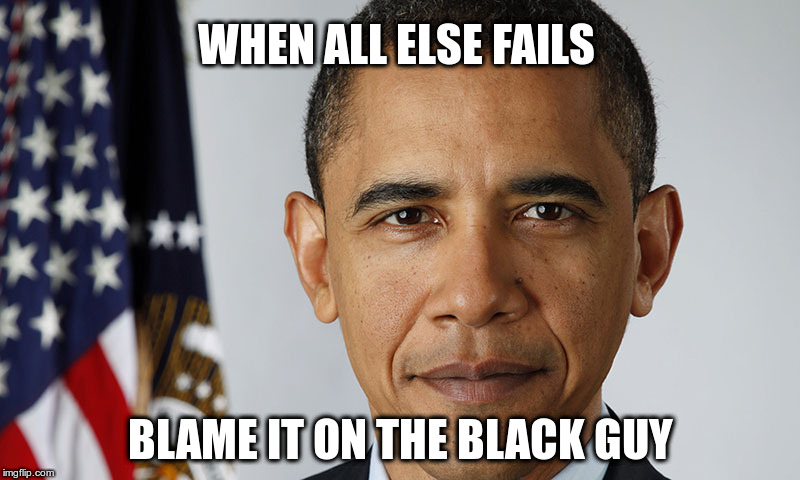 WHEN ALL ELSE FAILS BLAME IT ON THE BLACK GUY | image tagged in president obama | made w/ Imgflip meme maker