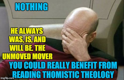 Captain Picard Facepalm Meme | NOTHING HE ALWAYS WAS, IS, AND WILL BE. THE UNMOVED MOVER YOU COULD REALLY BENEFIT FROM READING THOMISTIC THEOLOGY | image tagged in memes,captain picard facepalm | made w/ Imgflip meme maker