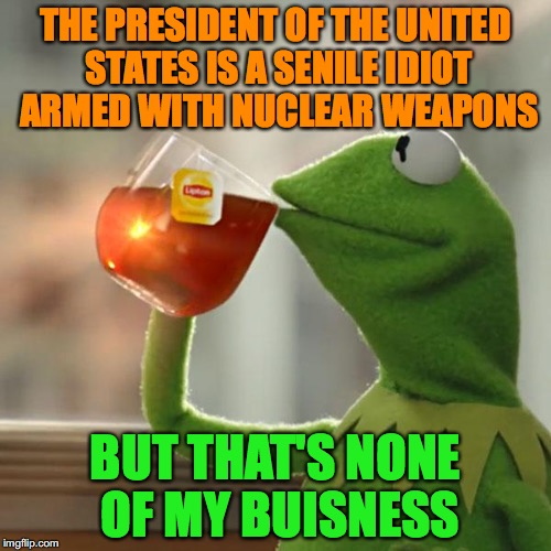What's a politik | THE PRESIDENT OF THE UNITED STATES IS A SENILE IDIOT ARMED WITH NUCLEAR WEAPONS BUT THAT'S NONE OF MY BUISNESS | image tagged in memes,but thats none of my business,kermit the frog | made w/ Imgflip meme maker