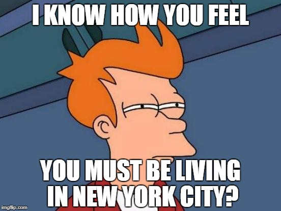 Futurama Fry Meme | I KNOW HOW YOU FEEL YOU MUST BE LIVING IN NEW YORK CITY? | image tagged in memes,futurama fry | made w/ Imgflip meme maker