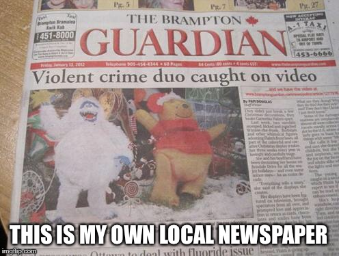 THIS IS MY OWN LOCAL NEWSPAPER | made w/ Imgflip meme maker