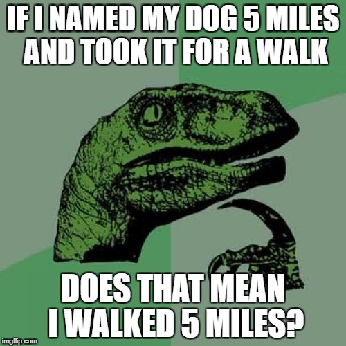 Philosoraptor Meme | IF I NAMED MY DOG 5 MILES AND TOOK IT FOR A WALK DOES THAT MEAN I WALKED 5 MILES? | image tagged in memes,philosoraptor | made w/ Imgflip meme maker