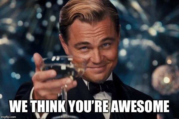 Leonardo Dicaprio Cheers Meme | WE THINK YOU'RE AWESOME | image tagged in memes,leonardo dicaprio cheers | made w/ Imgflip meme maker
