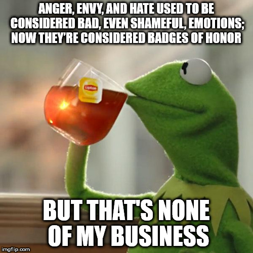 But Thats None Of My Business Meme | ANGER, ENVY, AND HATE USED TO BE CONSIDERED BAD, EVEN SHAMEFUL, EMOTIONS; NOW THEY'RE CONSIDERED BADGES OF HONOR BUT THAT'S NONE OF MY BUSIN | image tagged in memes,but thats none of my business,kermit the frog | made w/ Imgflip meme maker