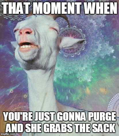that moment when | THAT MOMENT WHEN YOU'RE JUST GONNA PURGE AND SHE GRABS THE SACK | image tagged in that moment when,balls,ball sack,dirty meme | made w/ Imgflip meme maker