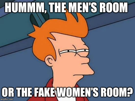 Futurama Fry Meme | HUMMM, THE MEN'S ROOM OR THE FAKE WOMEN'S ROOM? | image tagged in memes,futurama fry | made w/ Imgflip meme maker