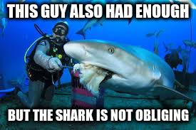 THIS GUY ALSO HAD ENOUGH BUT THE SHARK IS NOT OBLIGING | made w/ Imgflip meme maker