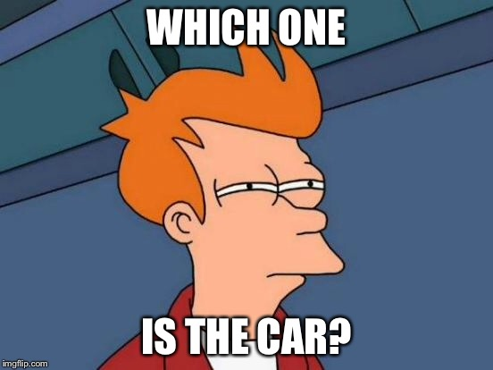 Futurama Fry Meme | WHICH ONE IS THE CAR? | image tagged in memes,futurama fry | made w/ Imgflip meme maker