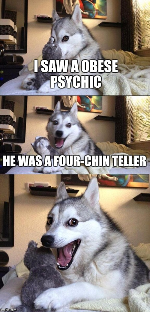 Bad Pun Dog Meme | I SAW A OBESE PSYCHIC HE WAS A FOUR-CHIN TELLER | image tagged in memes,bad pun dog | made w/ Imgflip meme maker