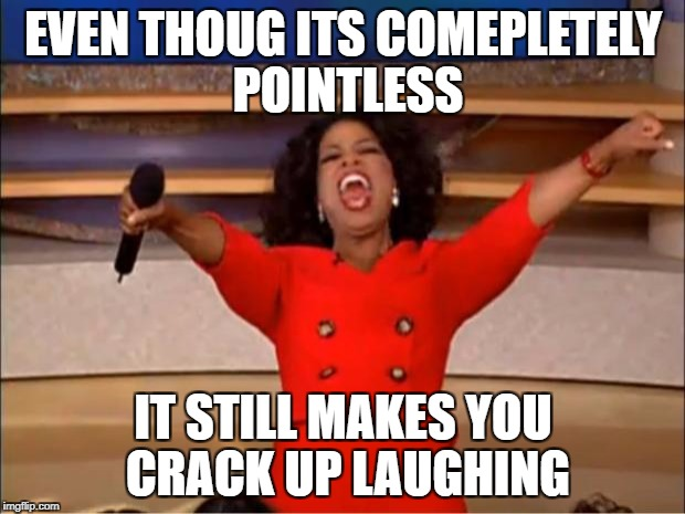 Oprah You Get A Meme | EVEN THOUG ITS COMEPLETELY POINTLESS IT STILL MAKES YOU CRACK UP LAUGHING | image tagged in memes,oprah you get a | made w/ Imgflip meme maker