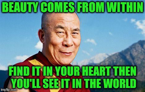 BEAUTY COMES FROM WITHIN FIND IT IN YOUR HEART THEN YOU'LL SEE IT IN THE WORLD | made w/ Imgflip meme maker
