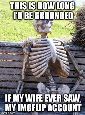 Waiting Skeleton Meme | THIS IS HOW LONG I'D BE GROUNDED IF MY WIFE EVER SAW MY IMGFLIP ACCOUNT | image tagged in memes,waiting skeleton | made w/ Imgflip meme maker