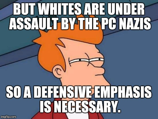 Futurama Fry Meme | BUT WHITES ARE UNDER ASSAULT BY THE PC NAZIS SO A DEFENSIVE EMPHASIS IS NECESSARY. | image tagged in memes,futurama fry | made w/ Imgflip meme maker