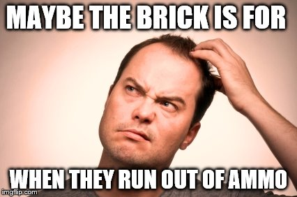 puzzled man | MAYBE THE BRICK IS FOR WHEN THEY RUN OUT OF AMMO | image tagged in puzzled man | made w/ Imgflip meme maker