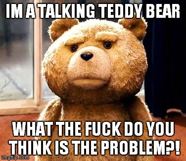 TED Meme | IM A TALKING TEDDY BEAR WHAT THE F**K DO YOU THINK IS THE PROBLEM?! | image tagged in memes,ted | made w/ Imgflip meme maker