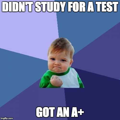 Success Kid Meme | DIDN'T STUDY FOR A TEST GOT AN A+ | image tagged in memes,success kid | made w/ Imgflip meme maker