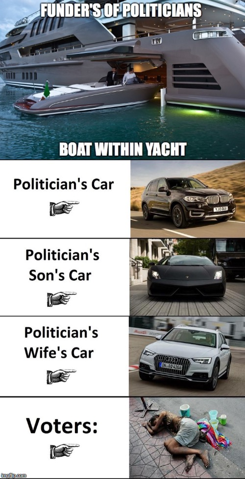 Funders, Politicians, and Voters | image tagged in yacht,boat,car,homeless,income inequality,rigged elections | made w/ Imgflip meme maker