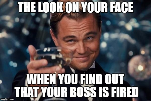 Leonardo Dicaprio Cheers | THE LOOK ON YOUR FACE WHEN YOU FIND OUT THAT YOUR BOSS IS FIRED | image tagged in memes,leonardo dicaprio cheers | made w/ Imgflip meme maker