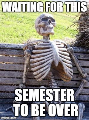 Waiting Skeleton Meme | WAITING FOR THIS SEMESTER TO BE OVER | image tagged in memes,waiting skeleton | made w/ Imgflip meme maker