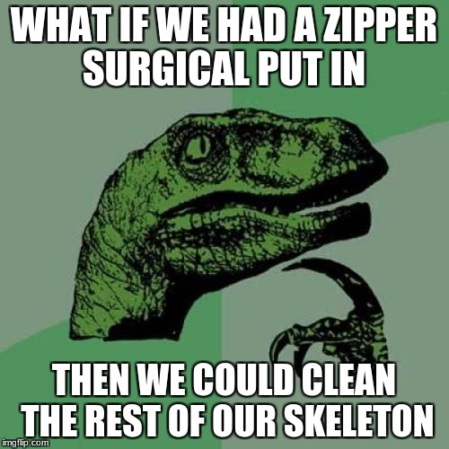 Philosoraptor Meme | WHAT IF WE HAD A ZIPPER SURGICAL PUT IN THEN WE COULD CLEAN THE REST OF OUR SKELETON | image tagged in memes,philosoraptor | made w/ Imgflip meme maker