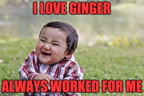 Evil Toddler Meme | I LOVE GINGER ALWAYS WORKED FOR ME | image tagged in memes,evil toddler | made w/ Imgflip meme maker