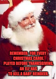 santa 1 | REMEMBER:  FOR EVERY CHRISTMAS CAROL PLAYED BEFORE THANKSGIVING, AN ELF HAS TO KILL A BABY REINDEER. | image tagged in santa 1 | made w/ Imgflip meme maker