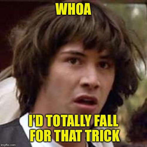 Conspiracy Keanu Meme | WHOA I'D TOTALLY FALL FOR THAT TRICK | image tagged in memes,conspiracy keanu | made w/ Imgflip meme maker