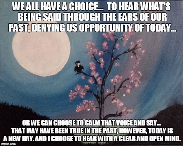 WE ALL HAVE A CHOICE...  TO HEAR WHAT'S BEING SAID THROUGH THE EARS OF OUR PAST, DENYING US OPPORTUNITY OF TODAY... OR WE CAN CHOOSE TO CALM | image tagged in our voice | made w/ Imgflip meme maker
