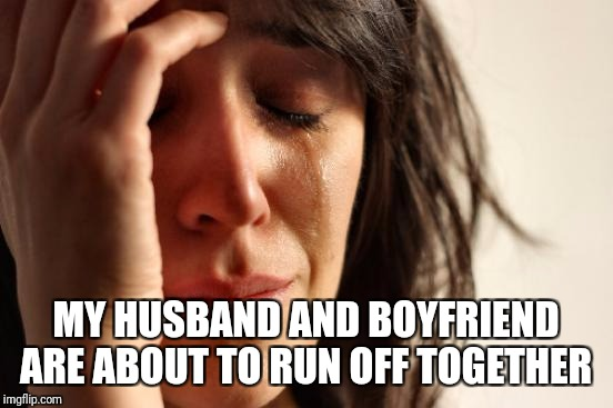 First World Problems Meme | MY HUSBAND AND BOYFRIEND ARE ABOUT TO RUN OFF TOGETHER | image tagged in memes,first world problems | made w/ Imgflip meme maker