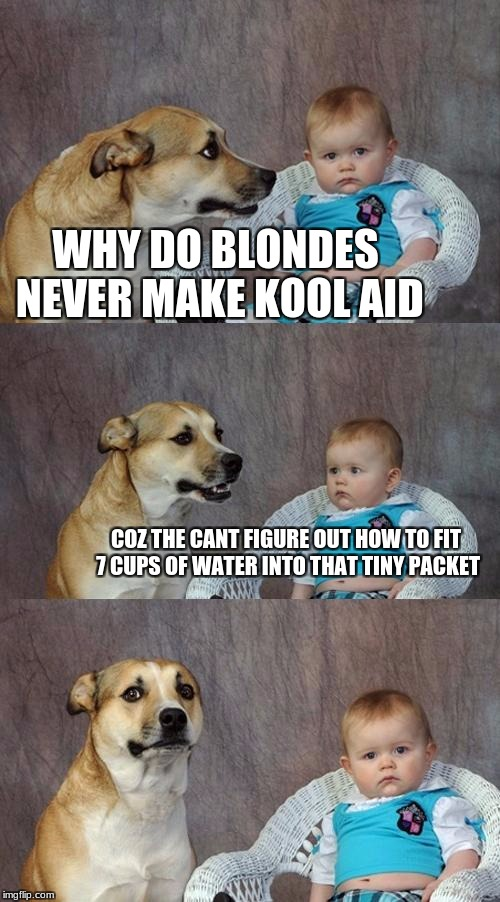 Dad Joke Dog Meme | WHY DO BLONDES NEVER MAKE KOOL AID COZ THE CANT FIGURE OUT HOW TO FIT 7 CUPS OF WATER INTO THAT TINY PACKET | image tagged in memes,dad joke dog | made w/ Imgflip meme maker