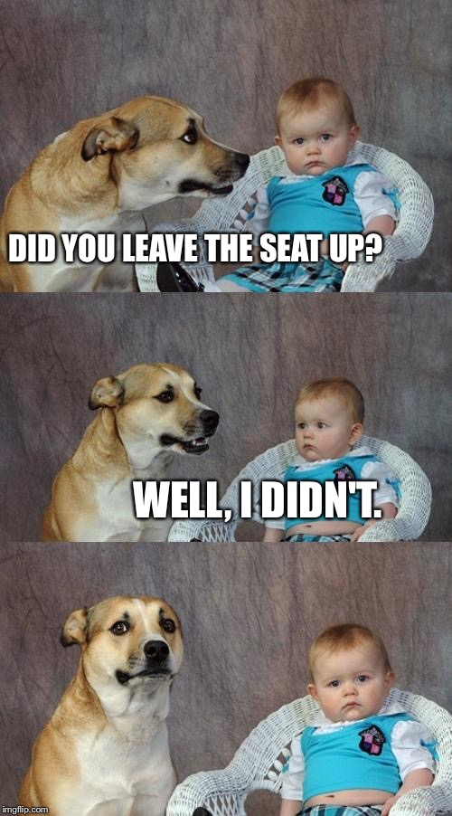 Dad Joke Dog Meme | DID YOU LEAVE THE SEAT UP? WELL, I DIDN'T. | image tagged in memes,dad joke dog | made w/ Imgflip meme maker