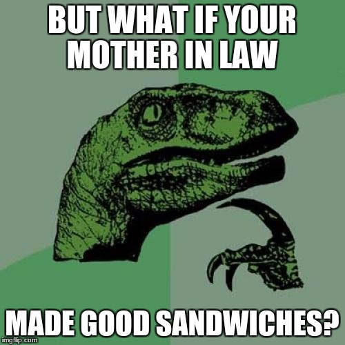 Philosoraptor Meme | BUT WHAT IF YOUR MOTHER IN LAW MADE GOOD SANDWICHES? | image tagged in memes,philosoraptor | made w/ Imgflip meme maker
