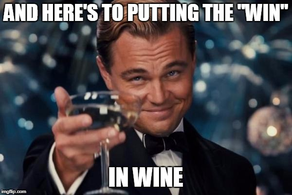 "Leonardo Dicaprio Cheers Meme | AND HERE'S TO PUTTING THE ""WIN"" IN WINE 