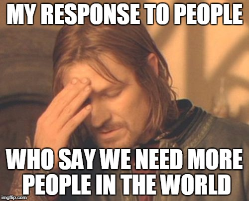 Frustrated Boromir | MY RESPONSE TO PEOPLE WHO SAY WE NEED MORE PEOPLE IN THE WORLD | image tagged in memes,frustrated boromir,overpopulation,anti-overpopulation | made w/ Imgflip meme maker