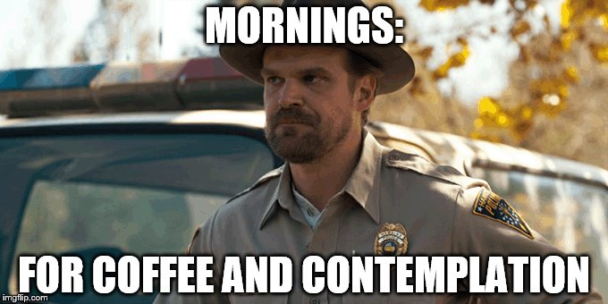 I WISH! | MORNINGS: FOR COFFEE AND CONTEMPLATION | image tagged in stranger things,mornings,for,coffee and contemplation | made w/ Imgflip meme maker