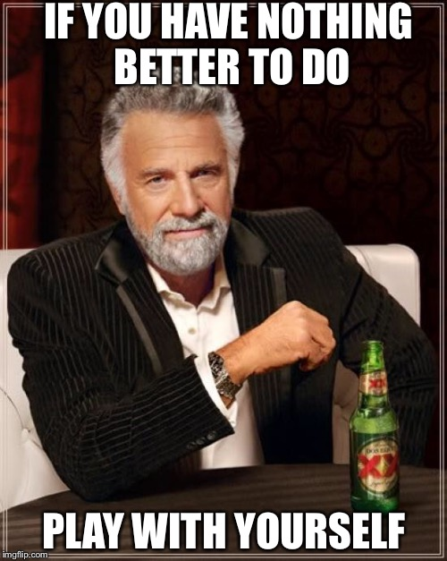 The Most Interesting Man In The World Meme | IF YOU HAVE NOTHING BETTER TO DO PLAY WITH YOURSELF | image tagged in memes,the most interesting man in the world | made w/ Imgflip meme maker