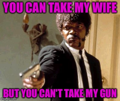 Say That Again I Dare You Meme | YOU CAN TAKE MY WIFE BUT YOU CAN'T TAKE MY GUN | image tagged in memes,say that again i dare you | made w/ Imgflip meme maker