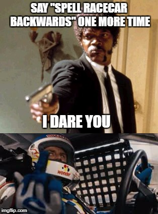 "SAY ""SPELL RACECAR BACKWARDS"" ONE MORE TIME I DARE YOU 
