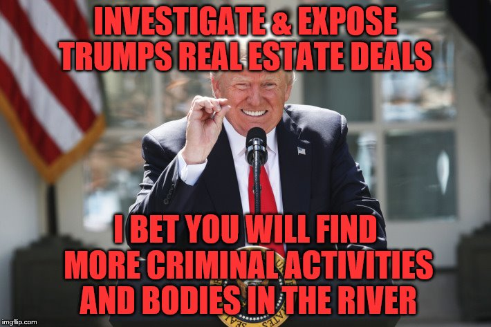 INVESTIGATE & EXPOSE TRUMPS REAL ESTATE DEALS I BET YOU WILL FIND MORE CRIMINAL ACTIVITIES AND BODIES IN THE RIVER | image tagged in potus | made w/ Imgflip meme maker