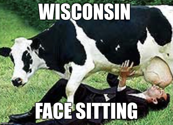 WISCONSIN FACE SITTING | image tagged in udderly wrong | made w/ Imgflip meme maker