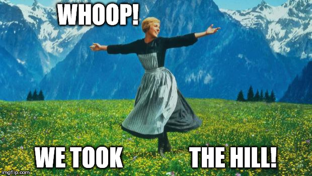 WHOOP! WE TOOK               THE HILL! | image tagged in the hills are alive | made w/ Imgflip meme maker