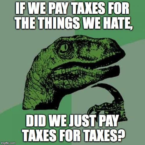 Philosoraptor Meme | IF WE PAY TAXES FOR THE THINGS WE HATE, DID WE JUST PAY TAXES FOR TAXES? | image tagged in memes,philosoraptor | made w/ Imgflip meme maker
