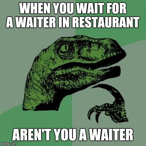 Philosoraptor Meme | WHEN YOU WAIT FOR A WAITER IN RESTAURANT AREN'T YOU A WAITER | image tagged in memes,philosoraptor | made w/ Imgflip meme maker