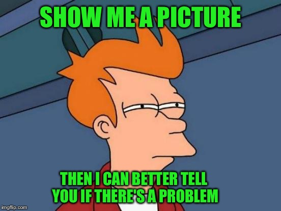 Futurama Fry Meme | SHOW ME A PICTURE THEN I CAN BETTER TELL YOU IF THERE'S A PROBLEM | image tagged in memes,futurama fry | made w/ Imgflip meme maker