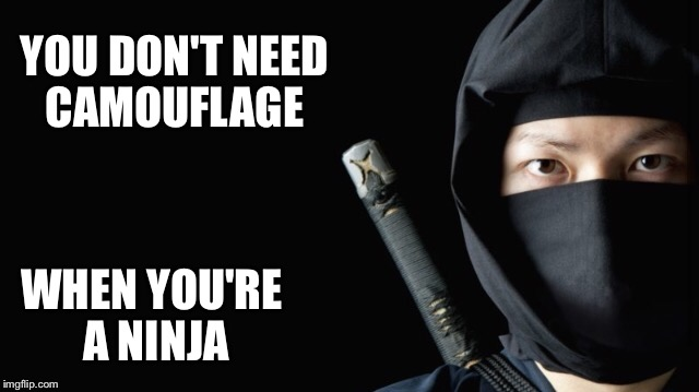 YOU DON'T NEED CAMOUFLAGE WHEN YOU'RE A NINJA | made w/ Imgflip meme maker